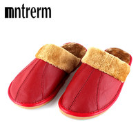 Xiuteng Winter Warm Home Slippers Women Couple Genuine Cow Leather Pantufas Wool Plush Man Mujer Indoor