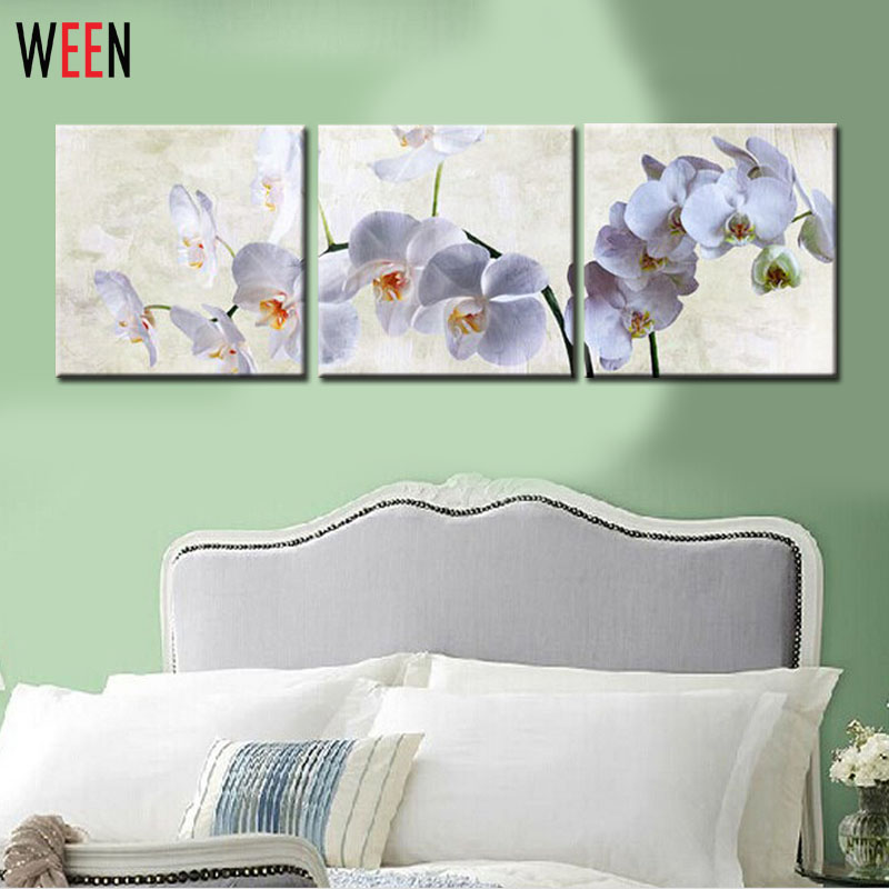 3 Panel Wall Art Moth Orchid Picture Oil Painting Peinture Canvas Print For Home Modern Decoration Frameless Art Pintura A Oleo