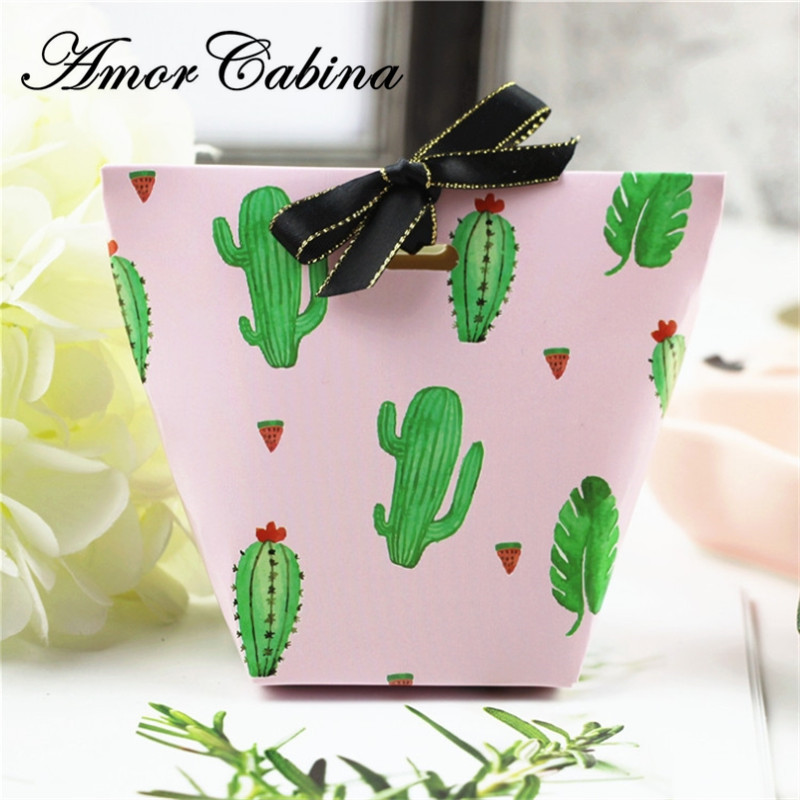 50pcs Creative DIY Summer Watermelon Cactus Wedding Like Candy Box Children's Party Christmas Gift with Ribbon Box Biscuit Box