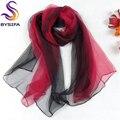 Ultrafinos Gradient mulheres fino lenço de seda longo novo Design pintados à mão 100% Natural Silk Scarf 180 * 105 cm