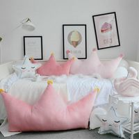 Lucky Boy Sunday 40*90CM Crown Stuffed Plush Pillow Bedroom Cushion Ins Style Crown Plush Toys Birthday Gift For Kids Girlfriend