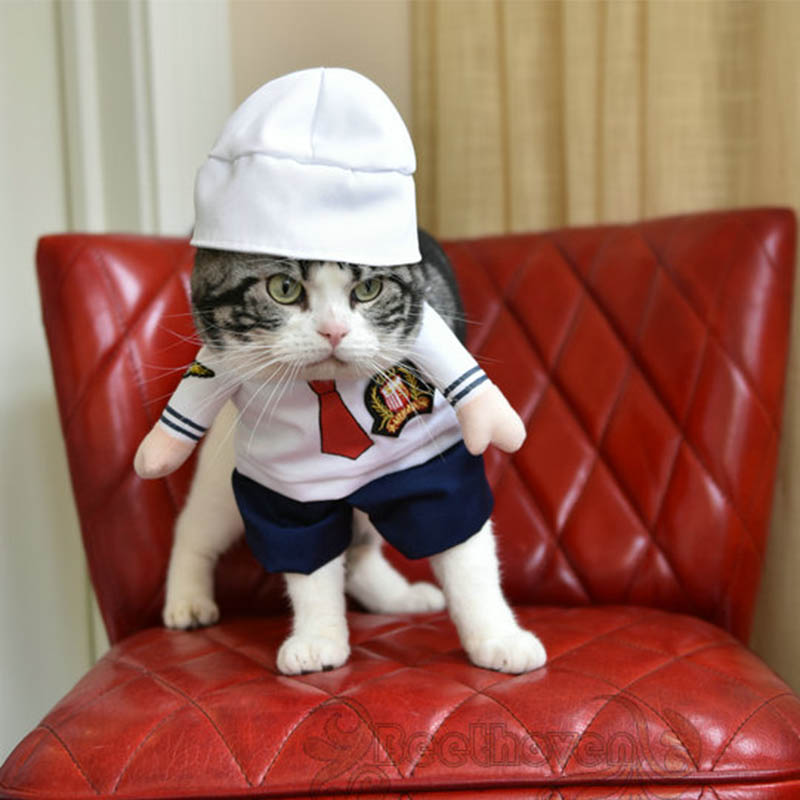 Funny pet cat dog sailor costume cosplay clothes suit small medium poodle dog puppy party jacket coat clothing with dog hat cape