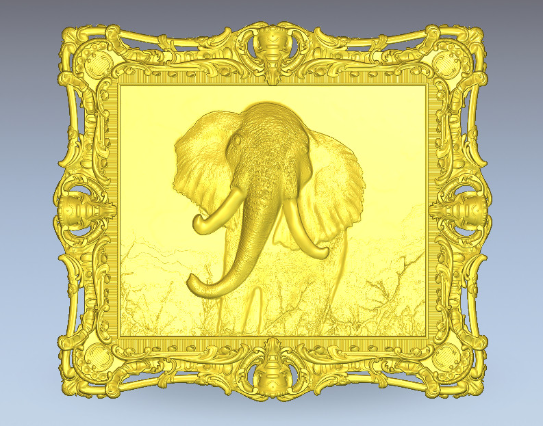 3d Model Elephant Frame Relief For Cnc Printer In STL File Format Art Girl M291