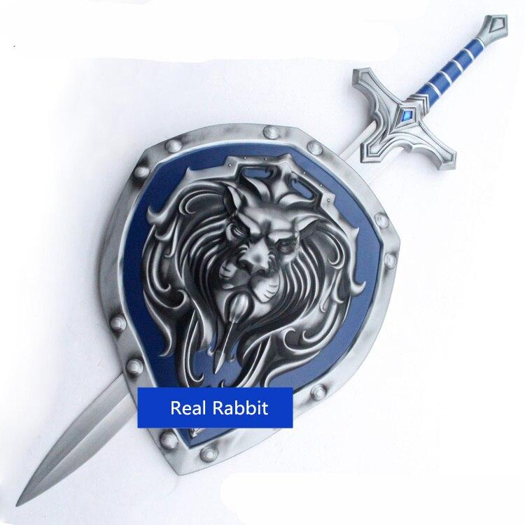 [Dessus] métal fait 1:1 échelle 108 cm WOW Stormwind soldat armes Lion bouclier et épée modèle adulte cosplay jouet collection cadeau