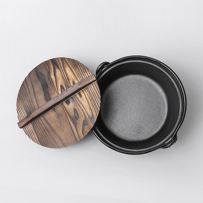 Haute qualité 25 CM fond plat en fonte ancienne casserole en fonte manuelle sans revêtement Pot à soupe wok japonais wok chinois - 2