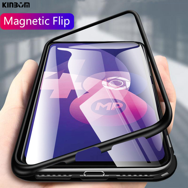 KINBOM Magnetic case for oppo F11Pro R15 A7S transparent glass case back cover rigid luxury metal frame protection couqe  Case