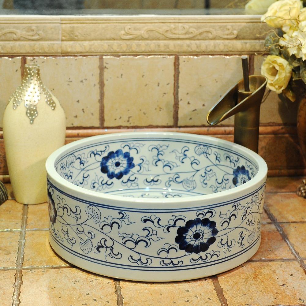 bthroom encimera lavabos lavabo buque lavabo aseo pintado a mano azul y blanco de cermica lavabo