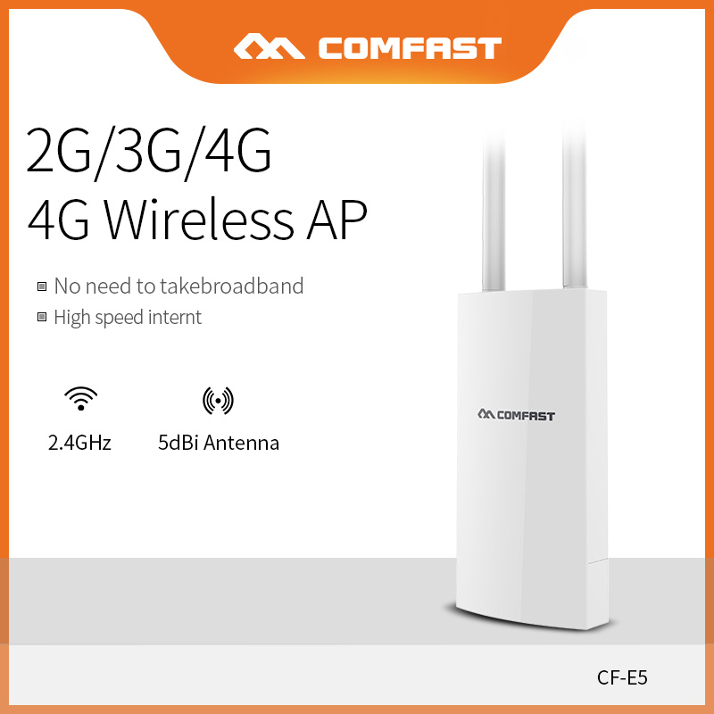 COMFAST 4G LTE Draadloze AP Wifi Router Hoge Snelheid met WAN/Lan poort 4G + 2.4Ghz WIFI Dekking Basisstation AP Met Sim kaart CF E5-in Draadloze Router van Computer & Kantoor op AliExpress - 11.11_Dubbel 11Vrijgezellendag 1