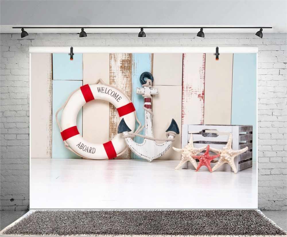 Laeacco деревянная доска кольцо для плавания якорь ребенок фотография фон Индивидуальные фотографические фоны для фотостудии