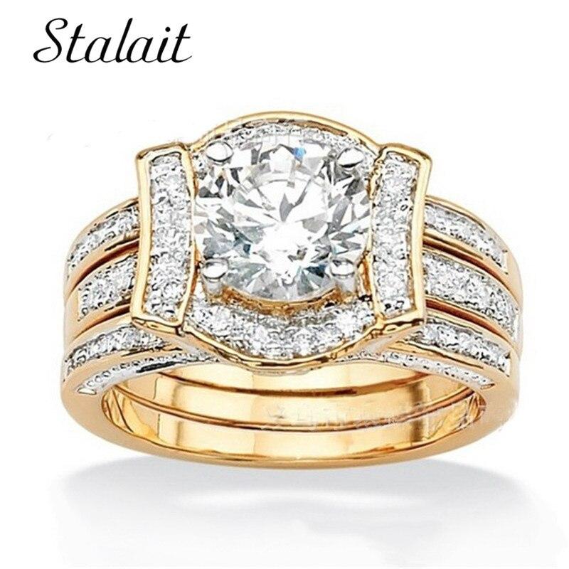 חם מבריק זהב וכסף צבע קריסטל אוסטרי זירקון טבעות סט קסמי חתונת טבעות סט לנשים בנות תכשיטים