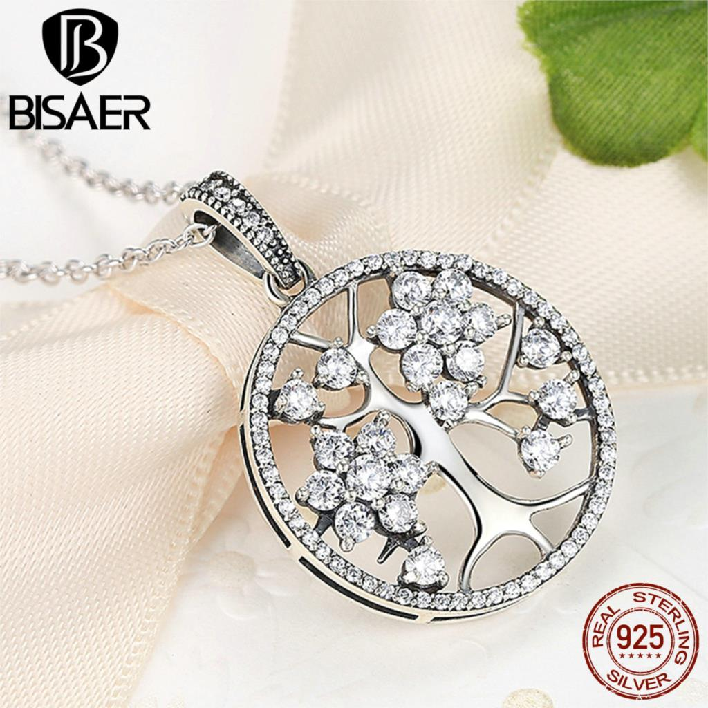 Authentic 925 Sterling Silver Round Shape Tree Choker Chain Pendant Necklaces for Women Sterling Silver Fine Jewelry Collier