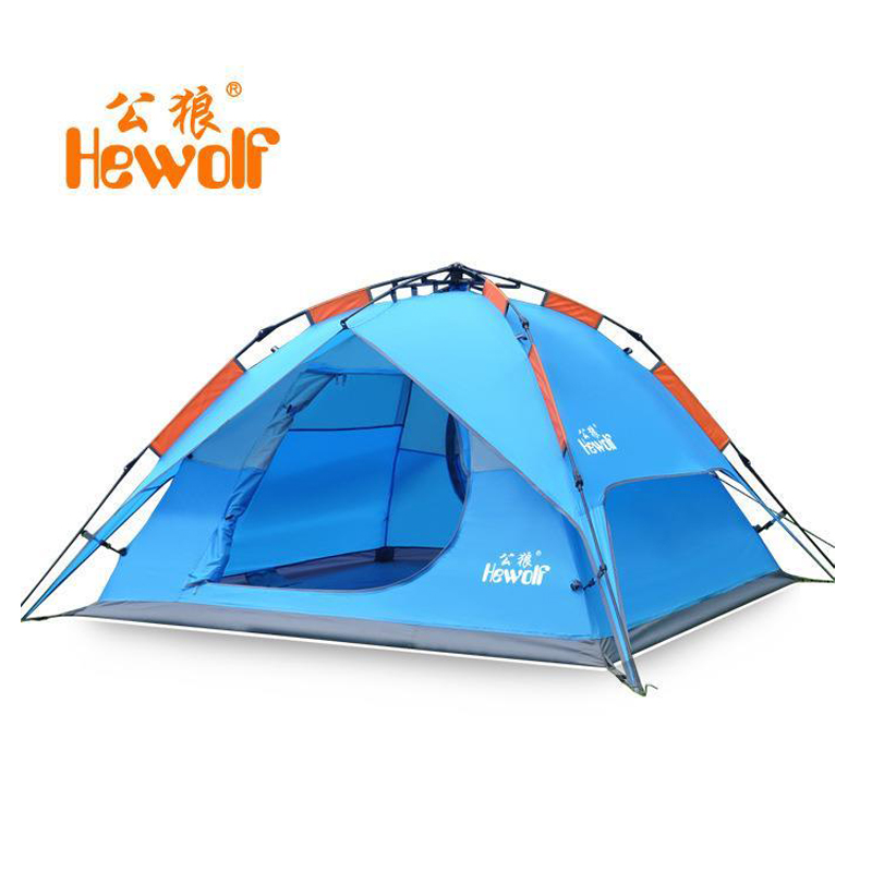 HEWOLF 200*180cm automatic tent 3 person 4 outdoor equipment tourist tents camping family travel Double waterproof tent 2 waterproof tourist tents 2 person outdoor camping equipment double layer dome aluminum pole camping tent with snow skirt