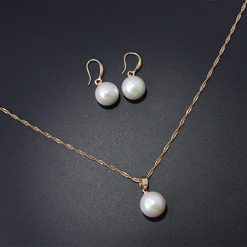 F U New Simple Design Fine Jewelry Set Plated Perfect Pearl Pendant