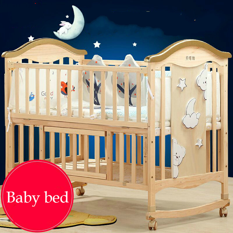 Luxurious Baby Bed Solid Wood No-painting Eco-friendly Crib Multifunction Child Game Bed with Trolley rocking bed Variable Desk цена