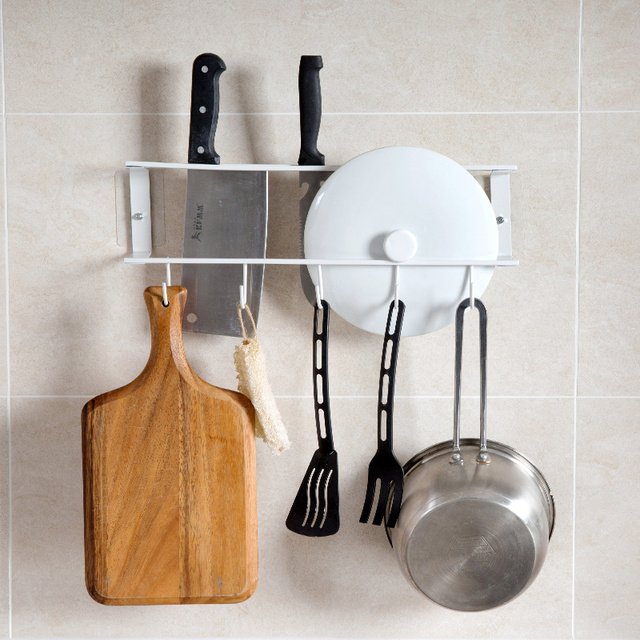 Free Hole Wall Mounted Lid Knife Kitchen Utensils Multi Purpose Rack Storage