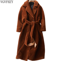 Стрижки овец Шинель Для женщин 2018 имитация реального шуба женская куртка длинные зимние теплый мех ягненка пальто casaco feminino LY1197