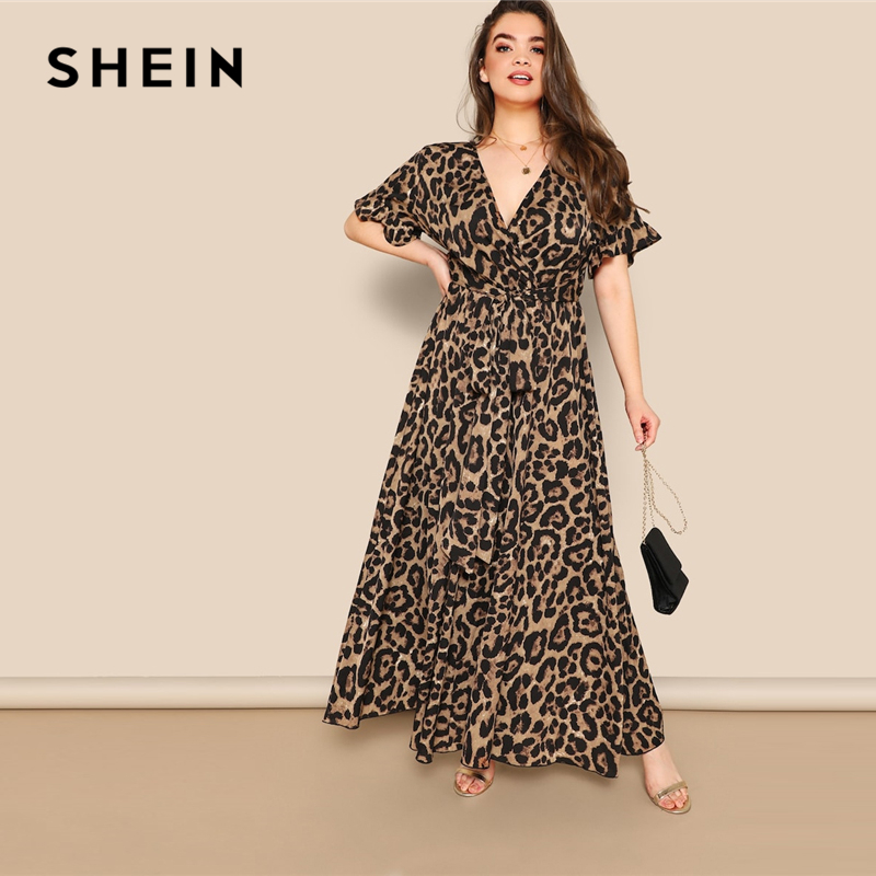 Image 4 - SHEIN Women Plus Size Flounce Sleeve Tie Waist Surplice Wrap 