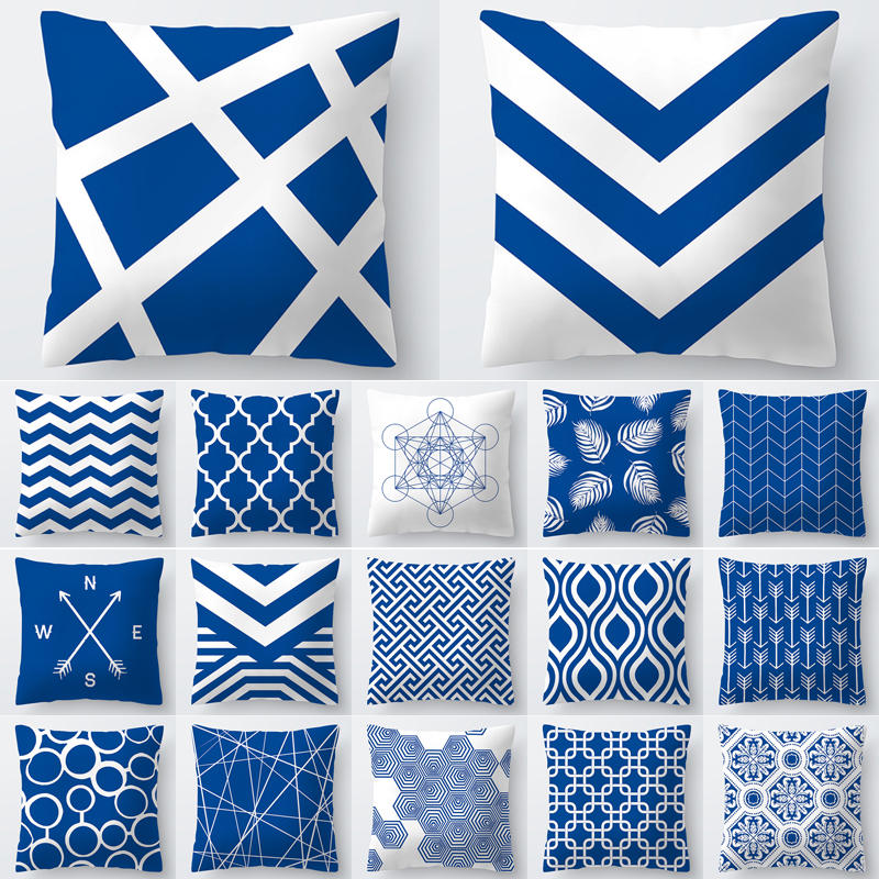 Pillow Case 45*45 Cushion Cover Geometric Blue Polyester Cushions For Sofa Throw Pillow Covers Home Decor Pillow Cover 40556-2