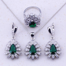 Delightful Green Created Emerald & CZ 925 Sterling Silver Jewelry Sets For Women Trendy Fashion Jewelry Free Gift Box J0032