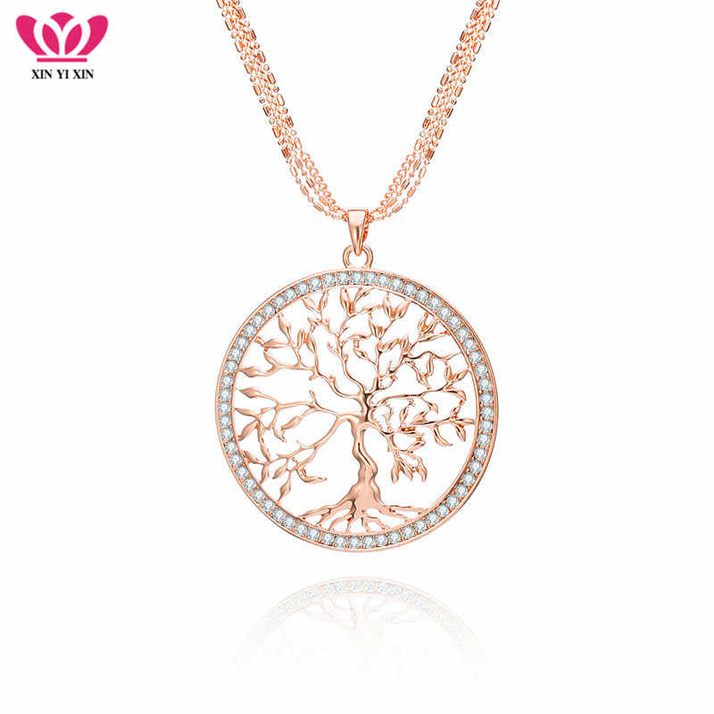 Tree of life Crystal Big Pendant Necklace Women Gold Silver Colors Long Sweater Chains Necklace Fashion Jewelry Gifts 2019 New