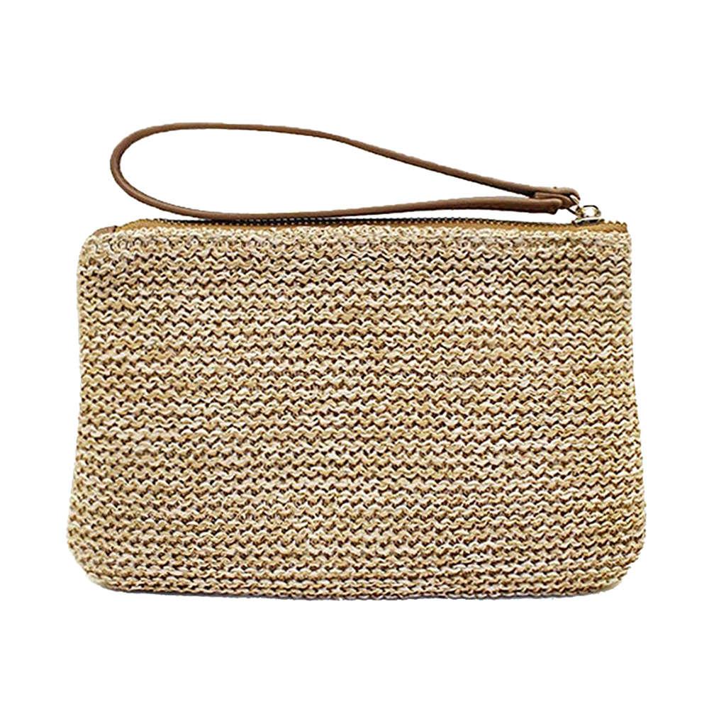 In Systematisch Beau-frauen Hand Handgelenk Typ Stroh Kupplung Sommer Strand Meer Handtasche Braun Große Exquisite Verarbeitung