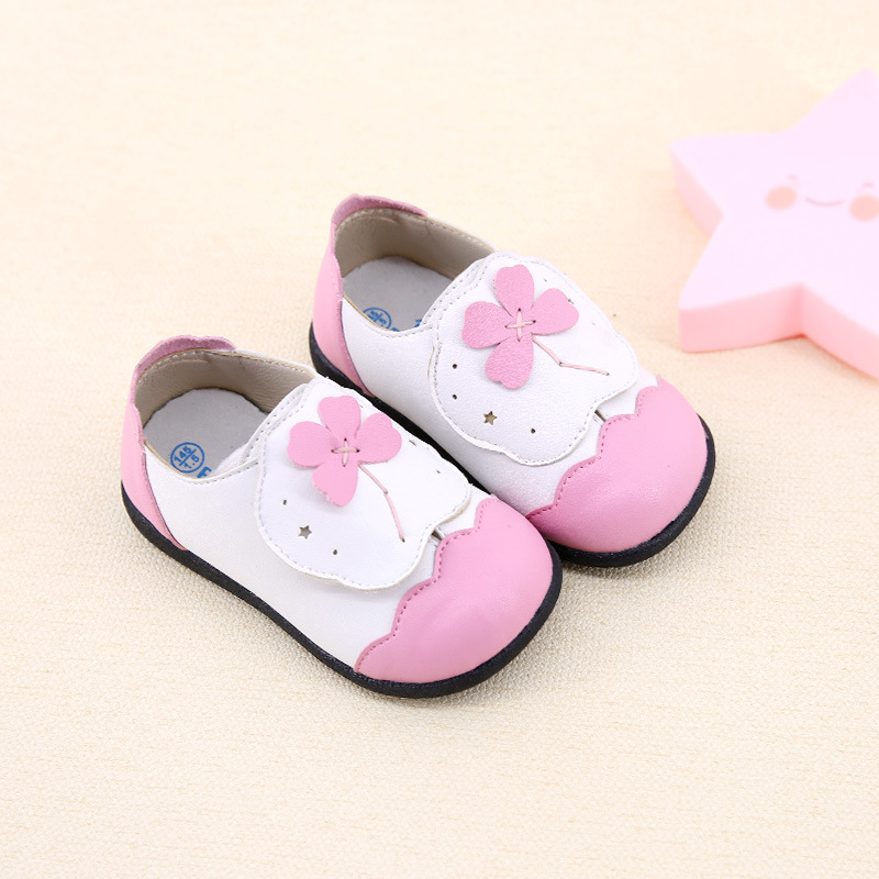 Korean Girls Princess Leather Shoes Flowers Cute 1-5-year-old Baby Toddler Shoes Spring New Casual Single Shoes