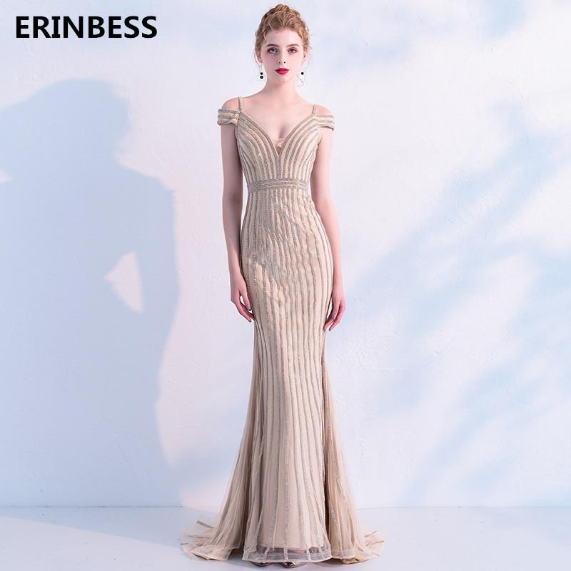 2019 Champagne   Evening     Dresses   Long   Dress   Vestido De Festa V-Neck V-back Tulle Mermaid   Evening     Dress   Prom Gowns For Women