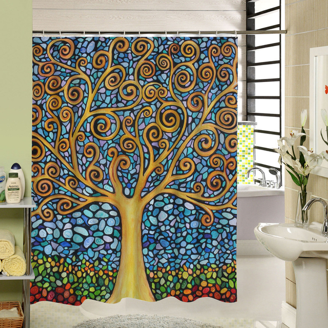 Abstract Tree Shower Curtain Polyester Fabric Printing Bathroom ...
