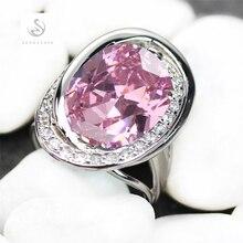 Con baño de plata hermoso anillo Pink Cubic Zirconia joyería redonda R913 sz #6 7 8 9 el nuevo producto favorito top ventas Shinning