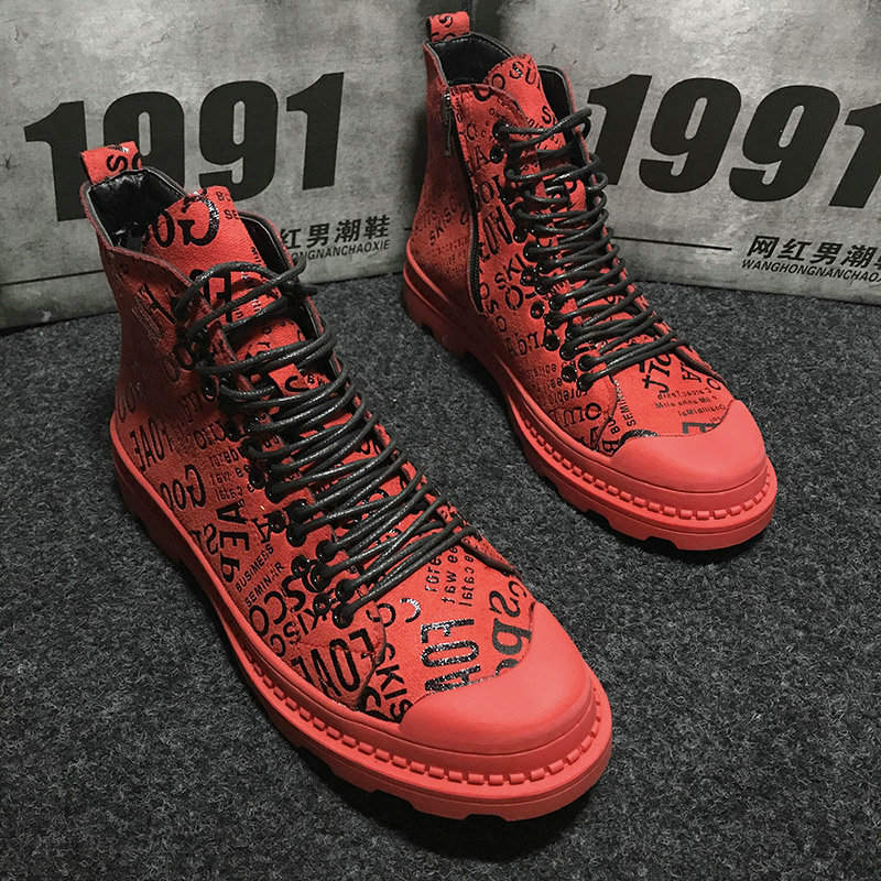 Mens army boots Casual ankle boots High Top Leather Shoes Male RED Hip hop graffiti military boots  sneaker Shoes MM-89Mens army boots Casual ankle boots High Top Leather Shoes Male RED Hip hop graffiti military boots  sneaker Shoes MM-89