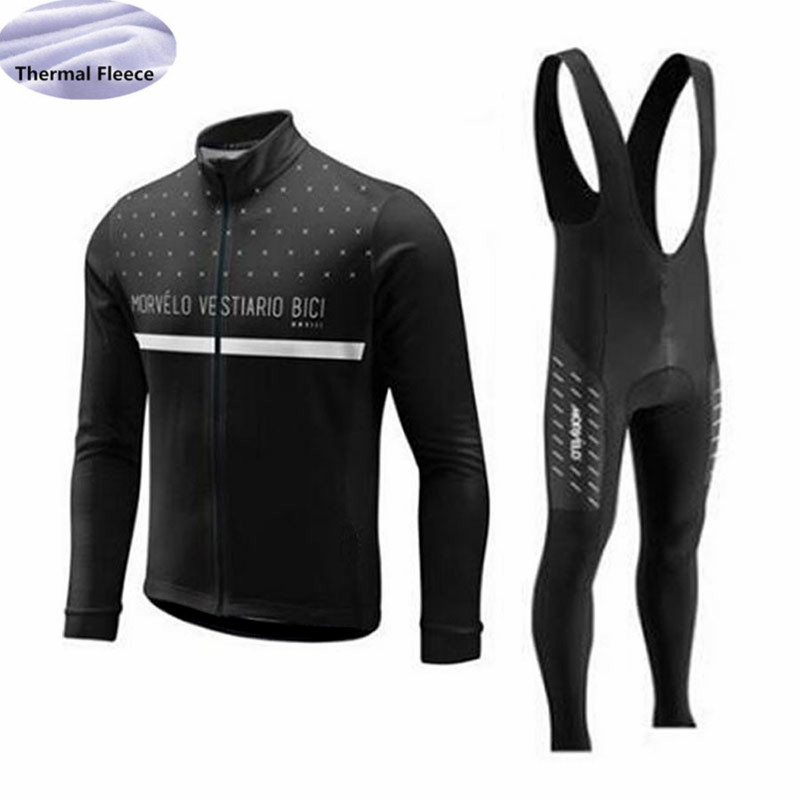 Image 2 - Winter Fleece Thermal Men Cycling Jersey set Morvelo team Long Sleeves Cycling clothing Wear bib pants Maillot Ropa Ciclismo-in Cycling Sets from Sports & Entertainment