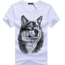 SWENEARO Men s clothing T Shirt White T shirt Casual Cotton Wolf Printed Cartoon Short Sleeve