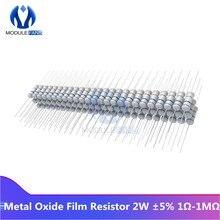 Resistor electrónico de película de óxido de Metal 100, 2W, 1K, 5% K, 5% K, 5% K, 2,2 K, 10K, 15K, 22K, 47K, 4,7 K, bricolaje, 5,1 Uds. + 6,8-100