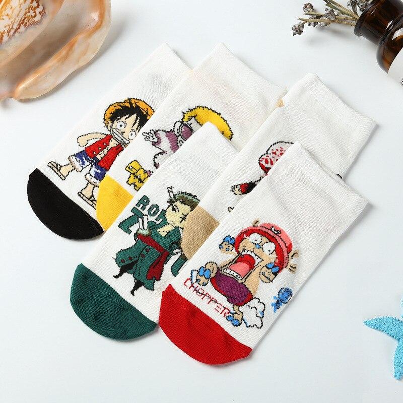 10 Pairs Japan Anime Cartoon One Piece Combed cotton socks Luffy Nami Robin Cosplay socks funny Unisex casual personality socks