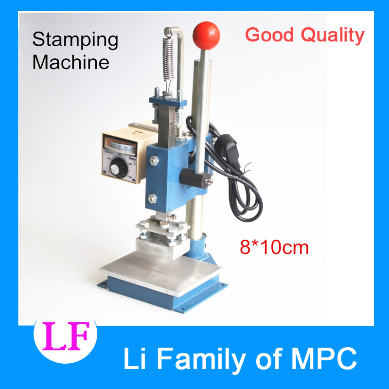 1 Set Manual hot foil stamping machine foil stamper leather printer marking press embossing machine 8x10cm 220V/110V hot stamping machine hot foil pneumatic stamping press logo printer for leather paper etc customized printable area zy 819b