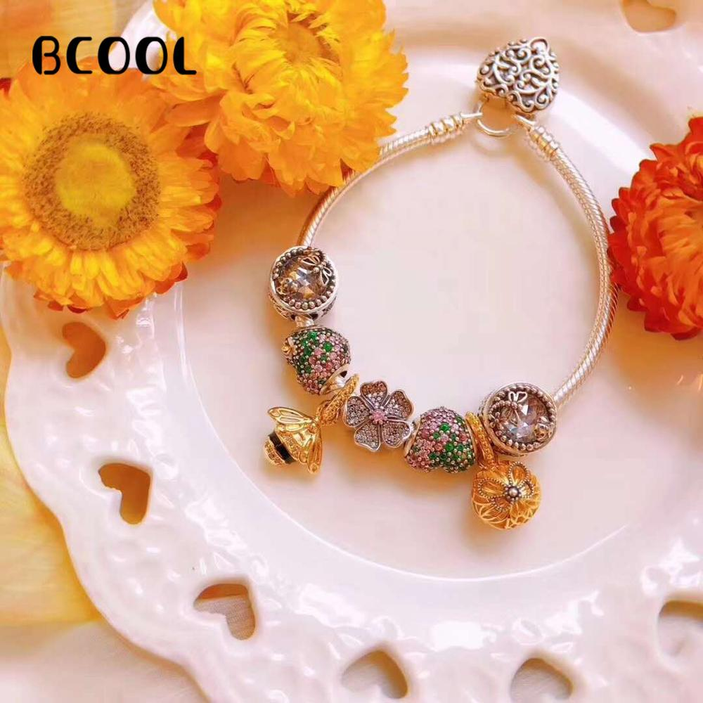 BCOOL DIY Jewelry Charm Fashion Silver 925 Original Bracelet, Suitable For Womens Love Crystal Beads Bracelet Jewelry Gifts.BCOOL DIY Jewelry Charm Fashion Silver 925 Original Bracelet, Suitable For Womens Love Crystal Beads Bracelet Jewelry Gifts.