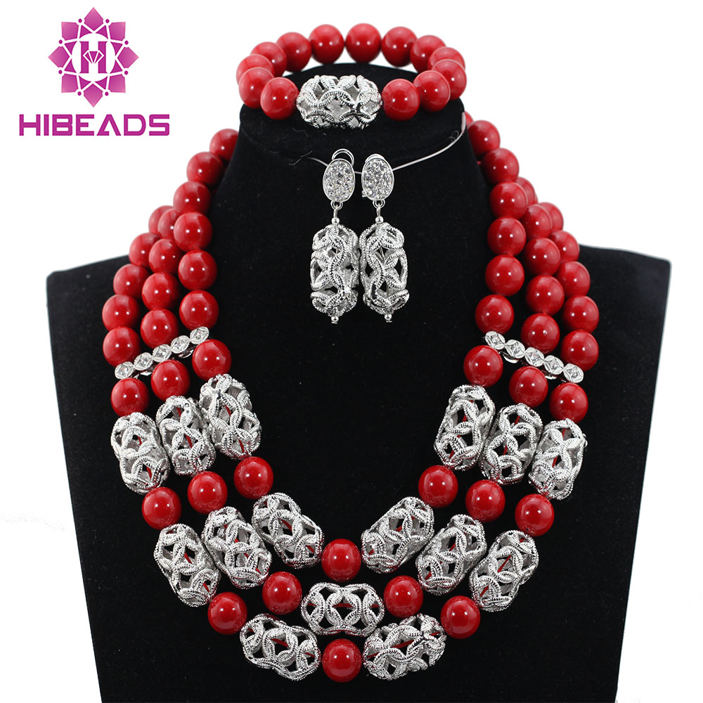 Popular Clear Coral Nigerian Wedding African Beads Jewelry Set For Bride Gift Free Shipping QW1046Popular Clear Coral Nigerian Wedding African Beads Jewelry Set For Bride Gift Free Shipping QW1046
