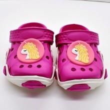 Подарок на день рождения для девочек милые розовые мягкие садовые Туфли-клоги туфли с единорогом/тигром