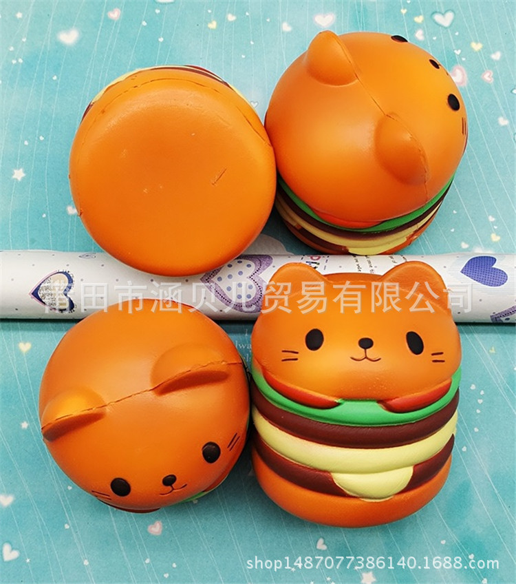 The new squishy cat burger simulation cat face expression burger vent decompression slow rebound PU toy