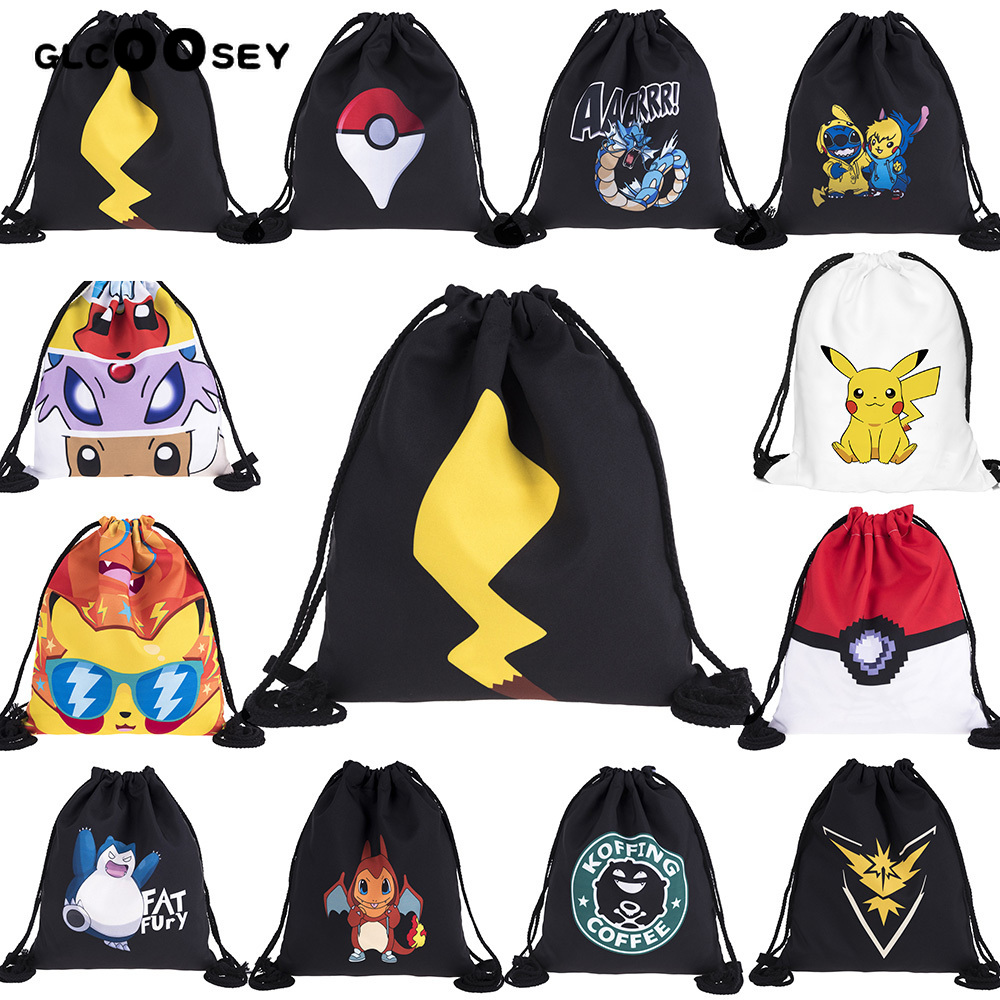 3D Printing Elf Series Pattern Travel Drawstring Pocket Pokemon Bag Drawstring Backpack Pikachu Schoolbag Draw String Bag Canvas