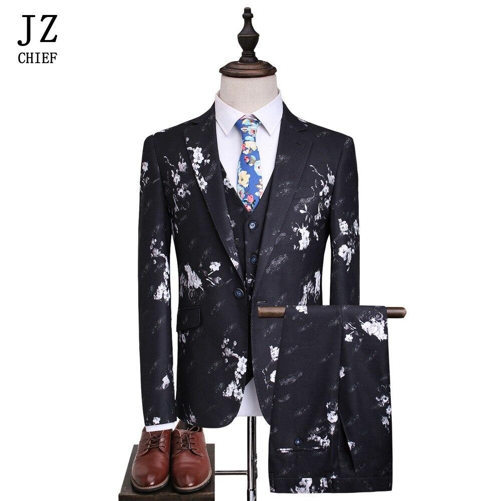 JZ CHIEF Mens Floral Suit Jacket Men Suit Set Slim Fit Printing Flower Wedding Suits 3 Pieces (jacket+pants+vest)Plus Size 5XL