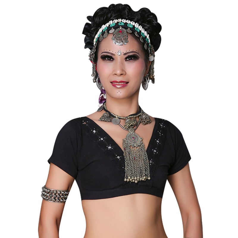 2019 ATS Tribal Belly Dance Clothes Crop Top Choli Tops V-neck Backless Plus Size Women Gypsy Tribal Dance