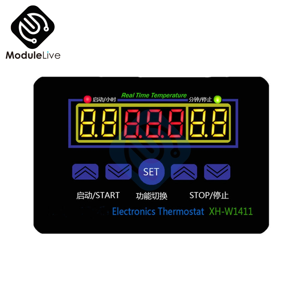 LED Digital Temperature Controller AC 220V 10A XH-W1411 12V Thermostat Control Switch стоимость