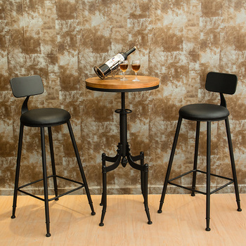 Banquetas New Sale 2019 Wood Modern Chairs Sillas Para Barra Retro Iron Cafe Bar Table And Chair Combination Round High Bench