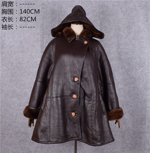 Clearance mother genuine sheepskin leather shearling cape coat ...