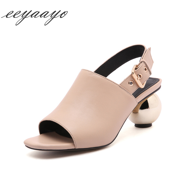 9aff42d84642be 2018 summer Genuine leather sandals women round metal ball heel buckle  strap square toe peep cow leather Black shoes women