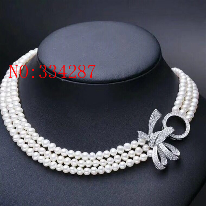 New 3 row natural freshwater cultured pearl necklace 8 9MM 19 inch AA