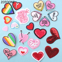 ZOTOONE Colorful Heart Patches for Clothing Wild Clothes Patch Applications Diy Badges Hand-make Sewing Appliques Garments E