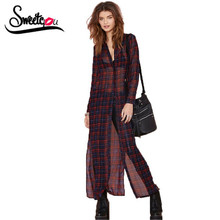 Sweetyou 2017 Sexy Perspective Split Long Blouse Women Shirt font b Tartan b font Vintage Sheer