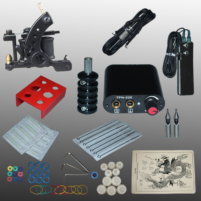 Complete Tattoo kits 8 wrap coils guns machine black tattoo machine power supply disposable needle free shipping